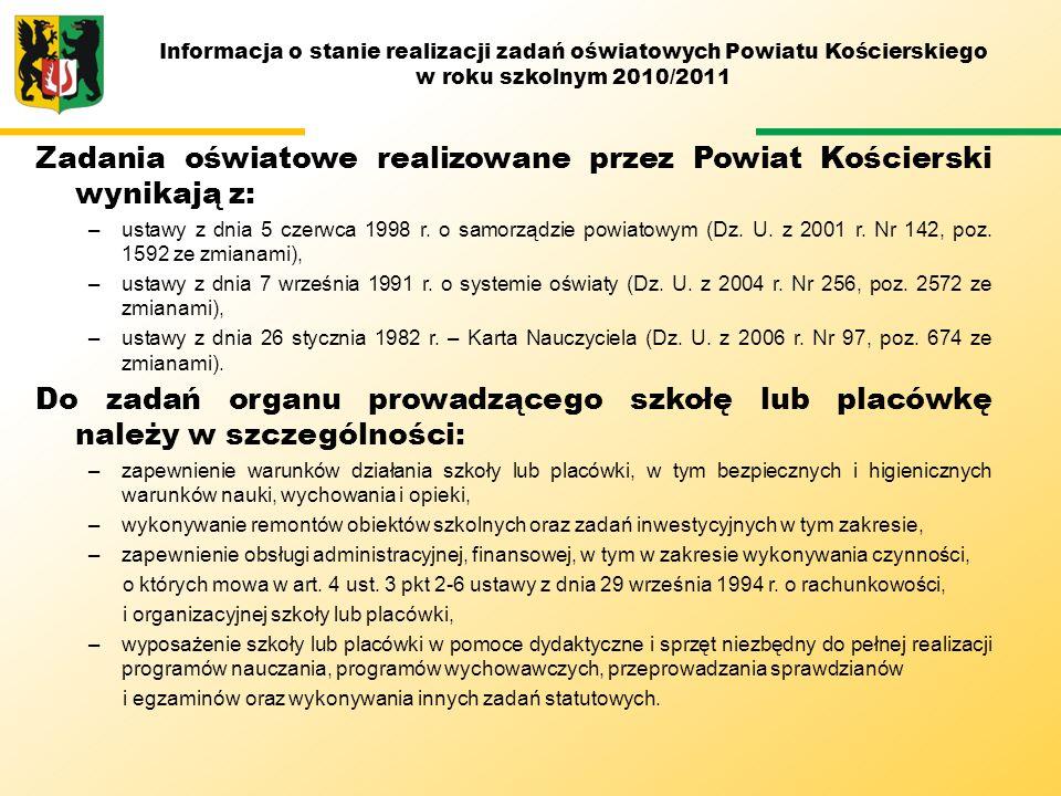 Powiat Kościerski jest organem prowadzącym dla: –I Liceum Ogólnokształcącego w Kościerzynie (ILO), –Powiatowego Zespołu Szkół Nr 1 w Kościerzynie (PZS Nr 1), –Powiatowego Zespołu Szkół Nr 2 w Kościerzynie (PZS Nr 2), –Powiatowego Zespołu Szkół Nr 3 w Kościerzynie (PZS Nr 3), –Powiatowego Zespołu Szkół w Lubaniu (PZS Lubań), –Powiatowego Zespołu Szkół w Starych Polaszkach (PZS Stare Polaszki), –Centrum Kształcenia Ustawicznego w Kościerzynie (CKU), –Specjalnego Ośrodka Szkolno – Wychowawczego w Kościerzynie (SOSW), –Poradni Psychologiczno – Pedagogicznej w Kościerzynie (PPP), –Domu Wczasów Dziecięcych w Wygoninie (DWD), –Powiatowego Centrum Młodzieży w Garczynie (PCM).