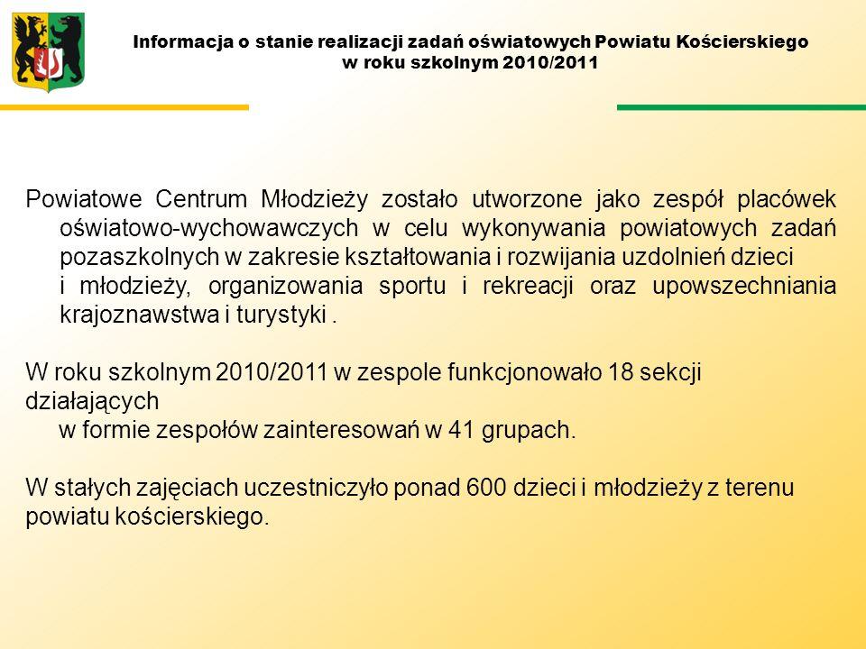 Informacja o stanie realizacji zadań oświatowych Powiatu Kościerskiego w roku szkolnym 2010/2011 Powiatowe Centrum Młodzieży zostało utworzone jako ze