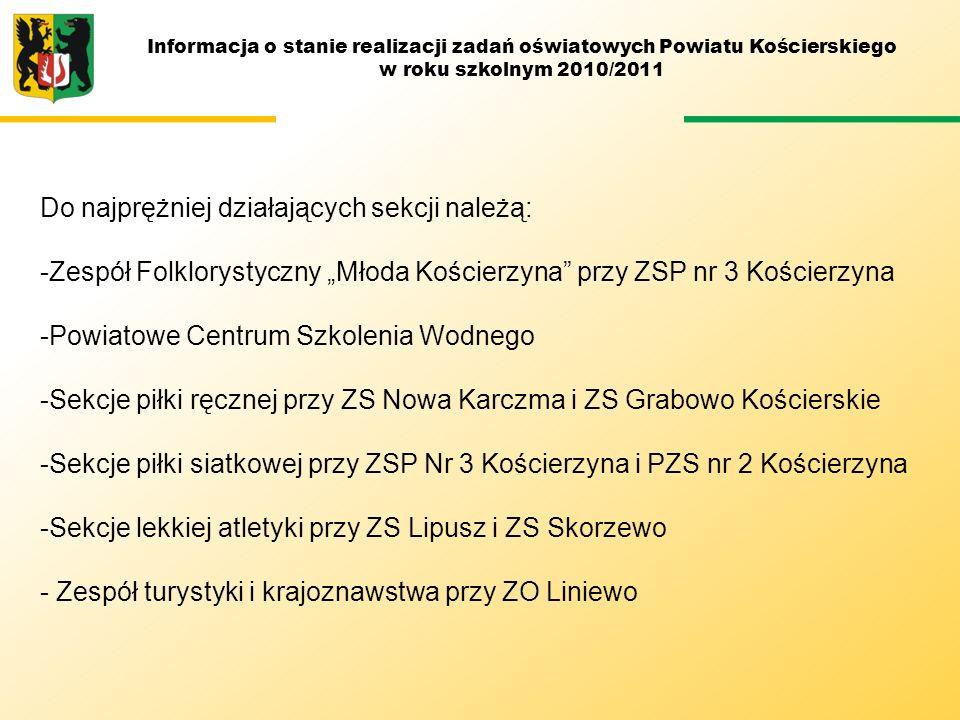 Informacja o stanie realizacji zadań oświatowych Powiatu Kościerskiego w roku szkolnym 2010/2011 Do najprężniej działających sekcji należą: -Zespół Fo