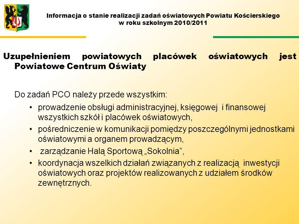Uzupełnieniem powiatowych placówek oświatowych jest Powiatowe Centrum Oświaty Do zadań PCO należy przede wszystkim: prowadzenie obsługi administracyjn