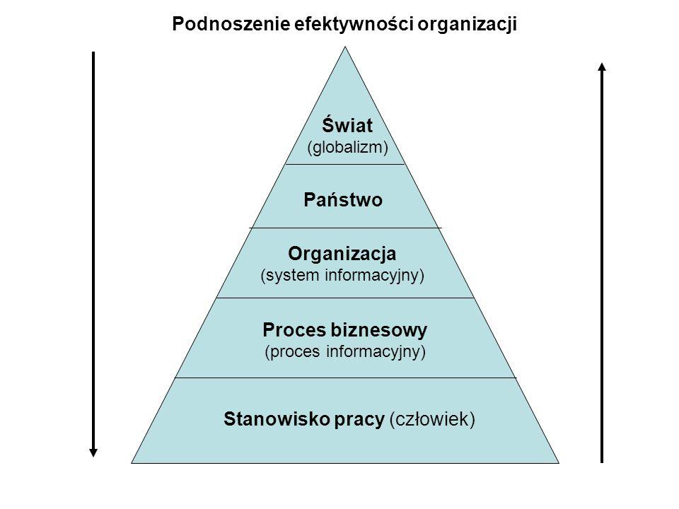 Stanowisko pracy (człowiek) Proces biznesowy (proces informacyjny) Organizacja (system informacyjny) Państwo Świat (globalizm) Podnoszenie efektywności organizacji