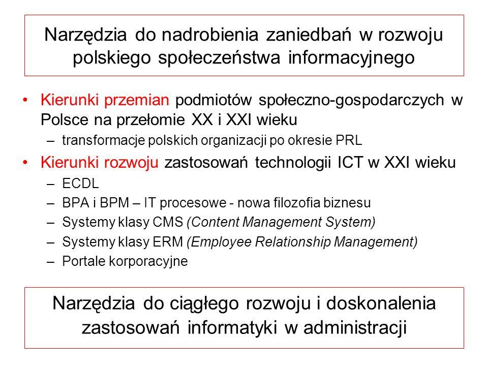 Narzędzia do nadrobienia zaniedbań w rozwoju polskiego społeczeństwa informacyjnego Kierunki przemian podmiotów społeczno-gospodarczych w Polsce na pr
