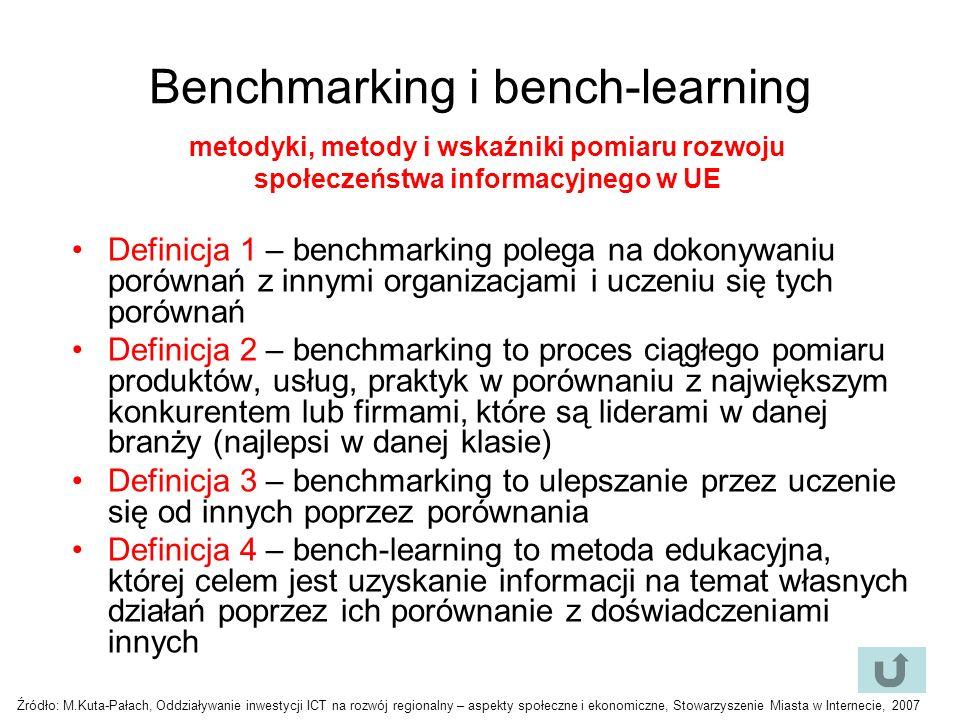 Benchmarking i bench-learning Definicja 1 – benchmarking polega na dokonywaniu porównań z innymi organizacjami i uczeniu się tych porównań Definicja 2 – benchmarking to proces ciągłego pomiaru produktów, usług, praktyk w porównaniu z największym konkurentem lub firmami, które są liderami w danej branży (najlepsi w danej klasie) Definicja 3 – benchmarking to ulepszanie przez uczenie się od innych poprzez porównania Definicja 4 – bench-learning to metoda edukacyjna, której celem jest uzyskanie informacji na temat własnych działań poprzez ich porównanie z doświadczeniami innych metodyki, metody i wskaźniki pomiaru rozwoju społeczeństwa informacyjnego w UE Źródło: M.Kuta-Pałach, Oddziaływanie inwestycji ICT na rozwój regionalny – aspekty społeczne i ekonomiczne, Stowarzyszenie Miasta w Internecie, 2007