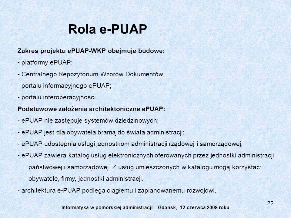 22 Zakres projektu ePUAP-WKP obejmuje budowę: - platformy ePUAP; - Centralnego Repozytorium Wzorów Dokumentów; - portalu informacyjnego ePUAP; - portalu interoperacyjności.