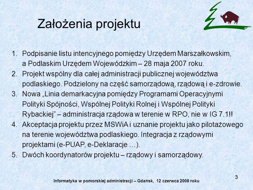 33 1.Podpisanie listu intencyjnego pomiędzy Urzędem Marszałkowskim, a Podlaskim Urzędem Wojewódzkim – 28 maja 2007 roku. 2.Projekt wspólny dla całej a