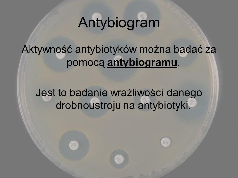 Antybiogram Aktywność antybiotyków można badać za pomocą antybiogramu. Jest to badanie wrażliwości danego drobnoustroju na antybiotyki.