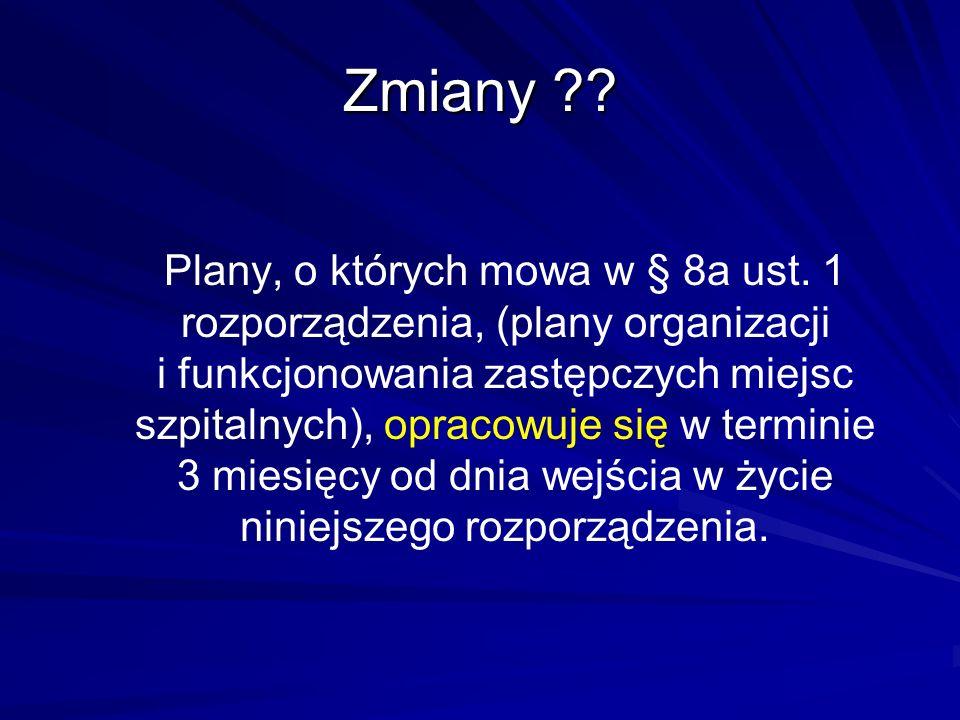 Zmiany ?? Plany, o których mowa w § 8a ust. 1 rozporządzenia, (plany organizacji i funkcjonowania zastępczych miejsc szpitalnych), opracowuje się w te