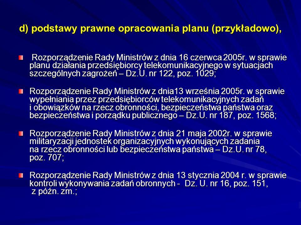 d) podstawy prawne opracowania planu (przykładowo), Rozporządzenie Rady Ministrów z dnia 16 czerwca 2005r. w sprawie planu działania przedsiębiorcy te