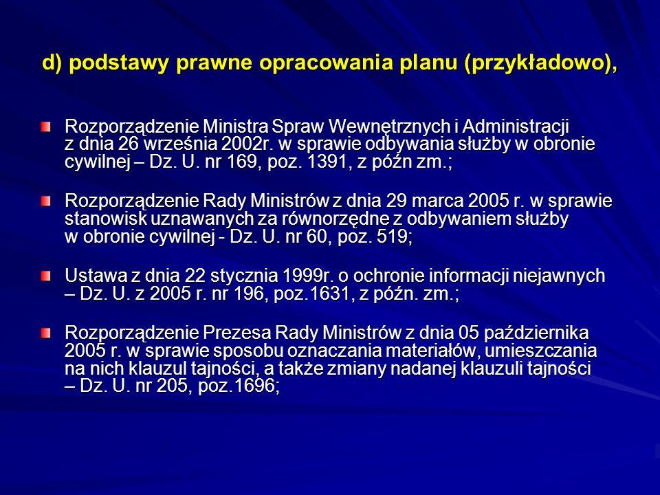 d) podstawy prawne opracowania planu (przykładowo), Rozporządzenie Ministra Spraw Wewnętrznych i Administracji z dnia 26 września 2002r. w sprawie odb