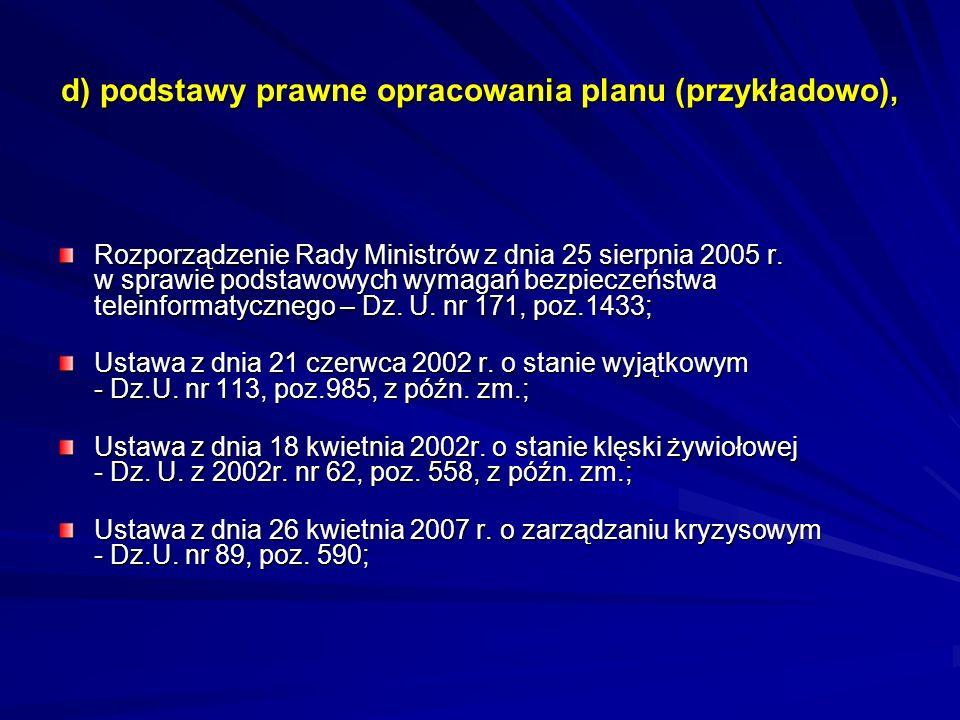 d) podstawy prawne opracowania planu (przykładowo), Rozporządzenie Rady Ministrów z dnia 25 sierpnia 2005 r. w sprawie podstawowych wymagań bezpieczeń