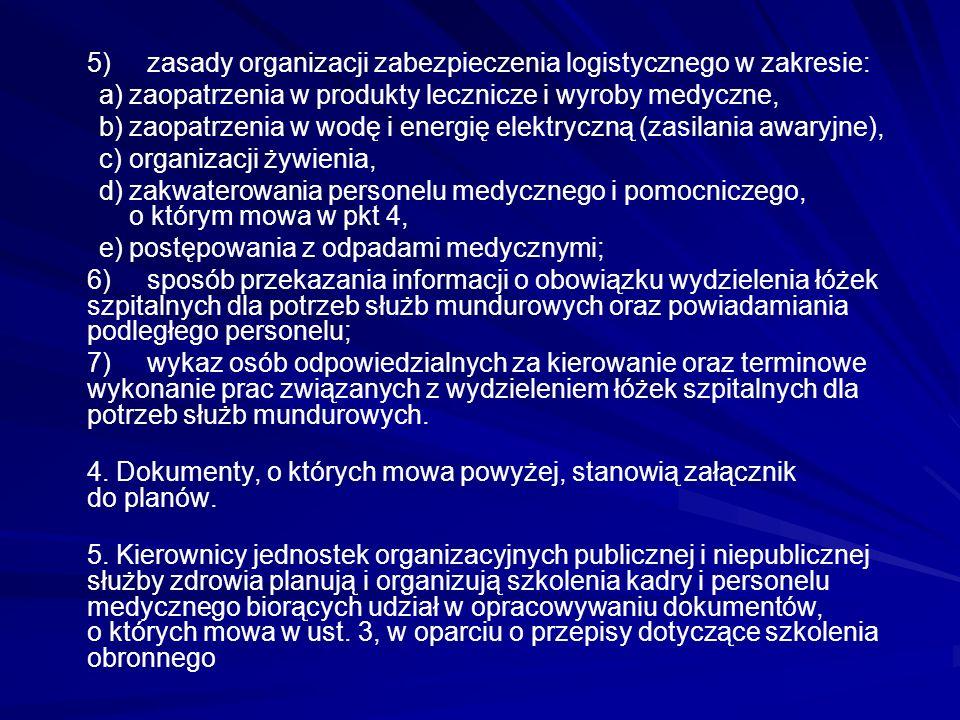 5)zasady organizacji zabezpieczenia logistycznego w zakresie: a)zaopatrzenia w produkty lecznicze i wyroby medyczne, b)zaopatrzenia w wodę i energię e
