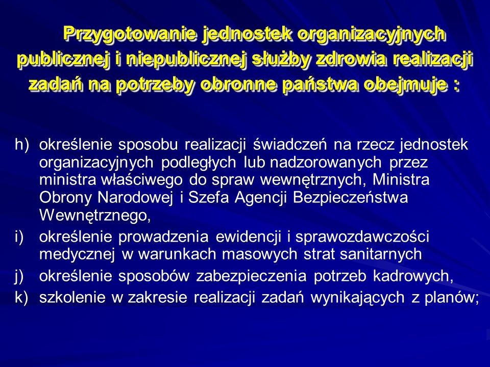 Przygotowanie jednostek organizacyjnych publicznej i niepublicznej służby zdrowia realizacji zadań na potrzeby obronne państwa obejmuje : h) h)określe