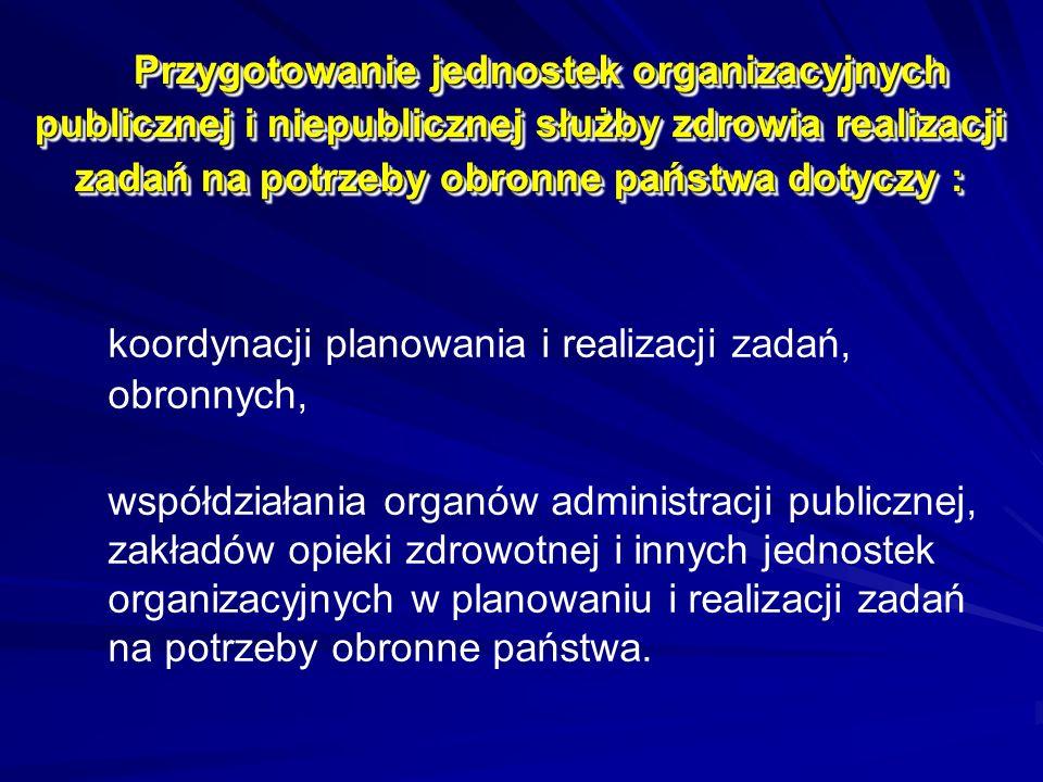 Przygotowanie jednostek organizacyjnych publicznej i niepublicznej służby zdrowia realizacji zadań na potrzeby obronne państwa dotyczy : koordynacji p