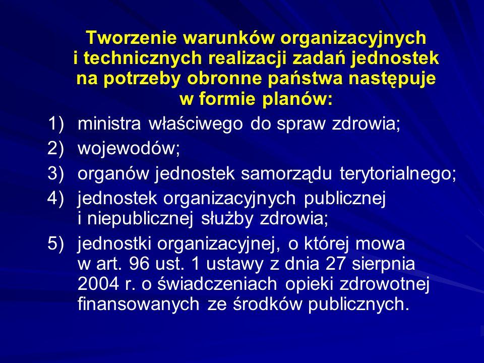 Tworzenie warunków organizacyjnych i technicznych realizacji zadań jednostek na potrzeby obronne państwa następuje w formie planów: 1)ministra właściw