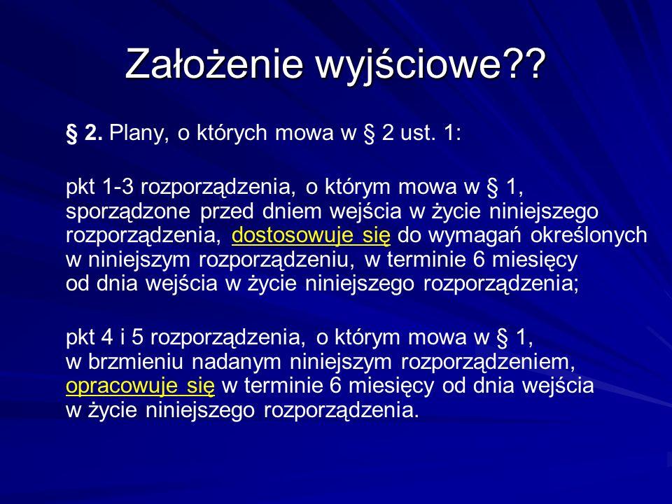 Założenie wyjściowe?? § 2. Plany, o których mowa w § 2 ust. 1: pkt 1-3 rozporządzenia, o którym mowa w § 1, sporządzone przed dniem wejścia w życie ni