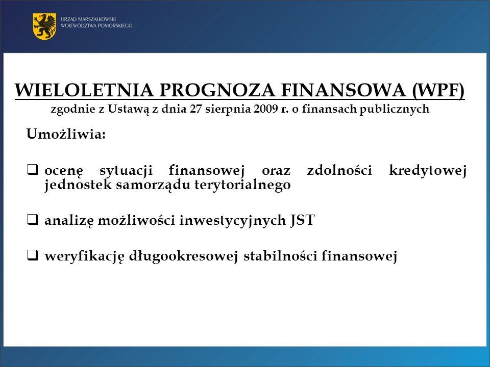 WIELOLETNIA PROGNOZA FINANSOWA (WPF) zgodnie z Ustawą z dnia 27 sierpnia 2009 r. o finansach publicznych Umożliwia: ocenę sytuacji finansowej oraz zdo