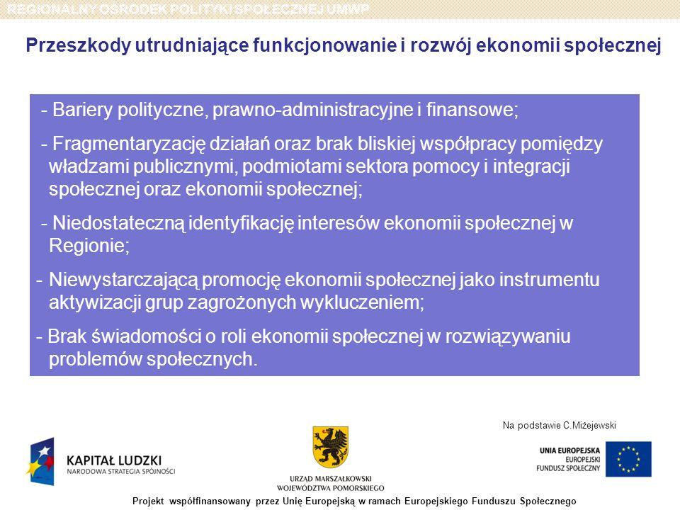 REGIONALNY OŚRODEK POLITYKI SPOŁECZNEJ UMWP Projekt współfinansowany przez Unię Europejską w ramach Europejskiego Funduszu Społecznego - Bariery polit