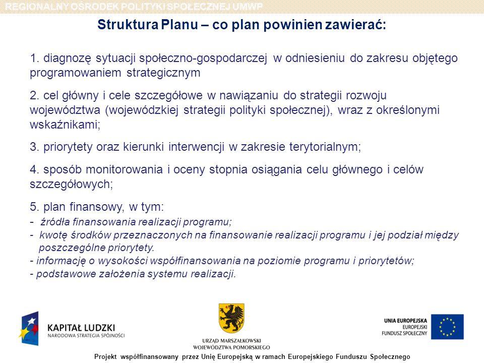 REGIONALNY OŚRODEK POLITYKI SPOŁECZNEJ UMWP Projekt współfinansowany przez Unię Europejską w ramach Europejskiego Funduszu Społecznego Zasady prac nad Planem Prace związane z budowa Planu będą prowadzone zgodnie z następującymi zasadami: a) wieloletniego planowania rozwoju ekonomii społecznej- oznaczającą potrzebę długofalowego planowania rozwoju ekonomii społecznej w regionie w oparciu o obowiązującą Strategię Rozwoju Województwa oraz ze szczególnym uwzględnieniem Strategii Polityki Społecznej Województwa Pomorskiego do roku 2013 b) spójności - oznaczającą, że elementem procesu budowy Planu będzie analiza istotnych dla rozwoju województwa pomorskiego celów zawartych w dokumentach strategicznych c) transparentności - oznaczającą, że proces budowy Planu będzie prowadzony w sposób otwarty wobec obywateli i innych instytucji, d) partnerstwa, rozumianą jako sposób definiowania i uzgadniania wizji oraz celów Planu przy aktywnej współpracy władz samorządu województwa z równoprawnie traktowanymi podmiotami, reprezentującymi różnorodne środowiska oraz instytucje zaangażowane w działania wspierające rozwój ekonomii społecznej.