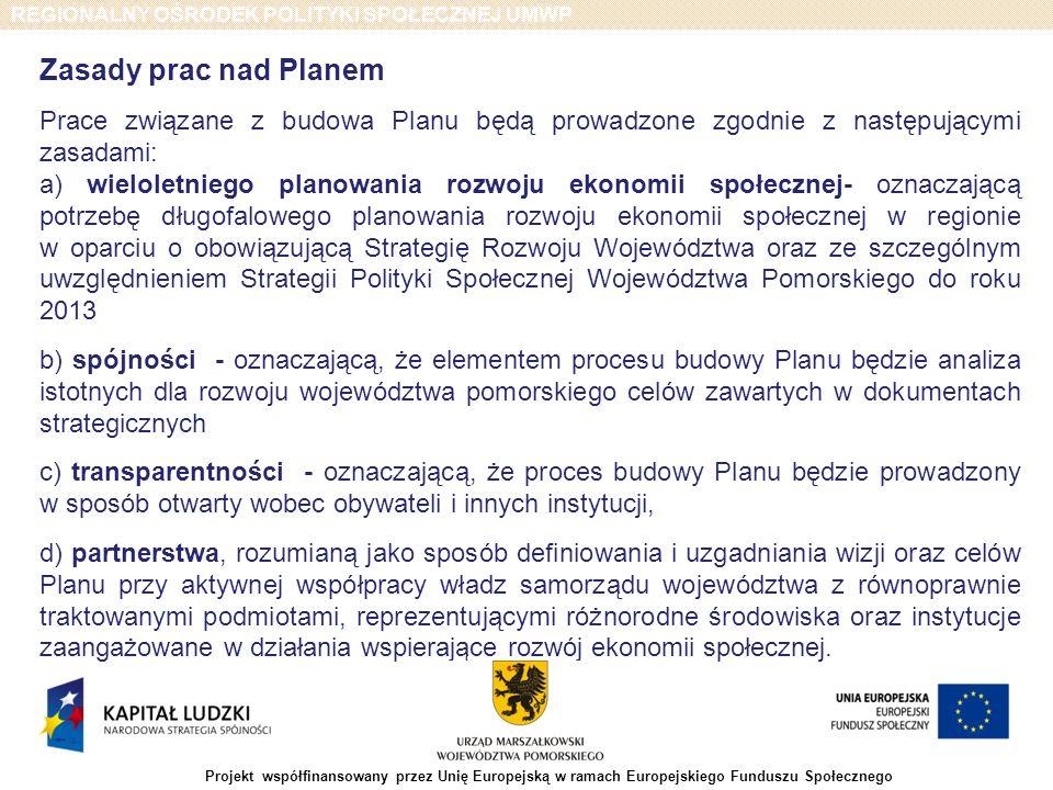 REGIONALNY OŚRODEK POLITYKI SPOŁECZNEJ UMWP Projekt współfinansowany przez Unię Europejską w ramach Europejskiego Funduszu Społecznego PRZYGOTOWANIE PLANU - Harmonogram L.pZadania do realizacjiVIII 2011 IX 2011 X 2011 XI 2011 XII 2011 1Przyjęcie przez Zarząd Województwa Pomorskiego zasad, trybu i harmonogramu opracowania planu działań na rzecz promocji i upowszechniania ekonomii społecznej oraz rozwoju instytucji sektora ekonomii społecznej i jej otoczenia w województwie pomorskim na lata 2011-2013 (uchwała) 2Powołanie Zespołu Zadaniowego do przygotowania planu działań na rzecz promocji i upowszechniania ekonomii społecznej oraz rozwoju instytucji sektora ekonomii społecznej i jej otoczenia w województwie pomorskim na lata 2011-2013 (uchwała) 3Opracowanie diagnozy sytuacji społeczno – gospodarczej w regionie na podstawie badań oraz na podstawie analiz własnych ROPS (opracowanie) 4Prace w grupach roboczych - ustalenie celów głównych, szczegółowych, priorytetów oraz kierunków interwencji, sposobu monitorowania, ram finansowych oraz założenia realizacji planu i promocji ekonomii społecznej (protokoły) 5Przygotowanie przez Zespół Zadaniowy wstępnego projektu Planu (projekt planu) 6Zatwierdzenie wstępnej wersji Planu przez Zarząd Województwa (uchwała) 7Konsultacje społeczne wstępnego projektu Planu (protokół) 8Opracowanie ostatecznej wersji Planu (wersja ostateczna planu) 9Przedłożenie ostatecznej wersji projektu Planu do przyjęcia przez Zarząd Województwa (uchwała)