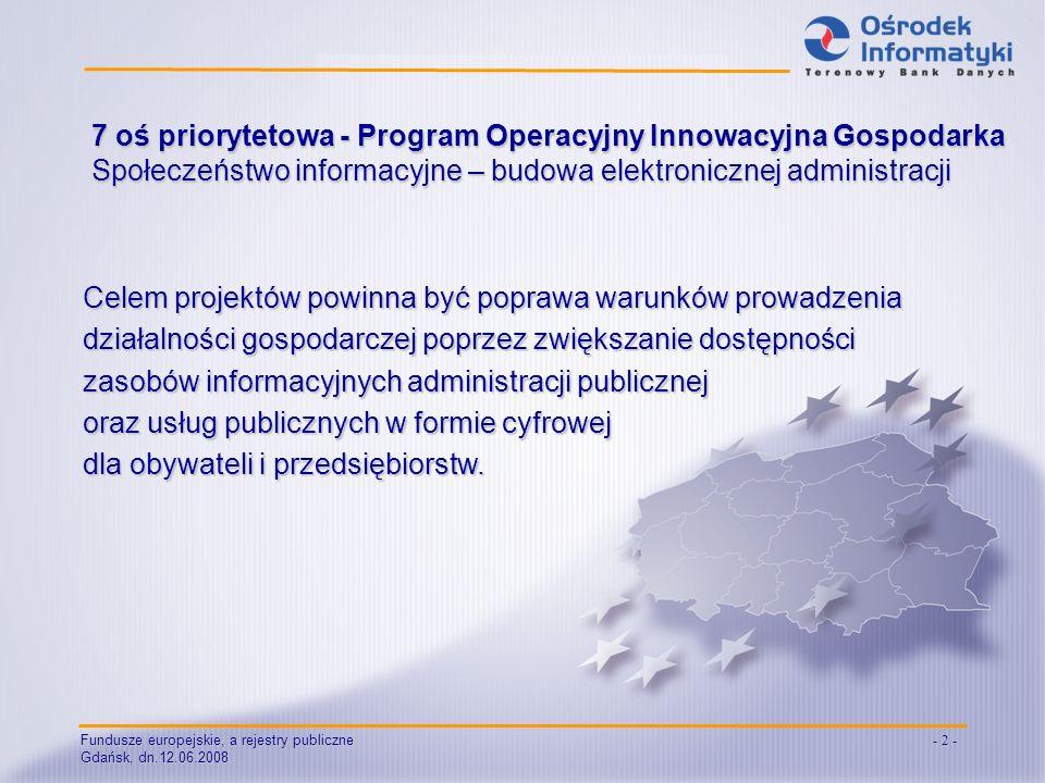 Gdańsk, dn.12.06.2008 - 2 - 7 oś priorytetowa - Program Operacyjny Innowacyjna Gospodarka Społeczeństwo informacyjne – budowa elektronicznej administr