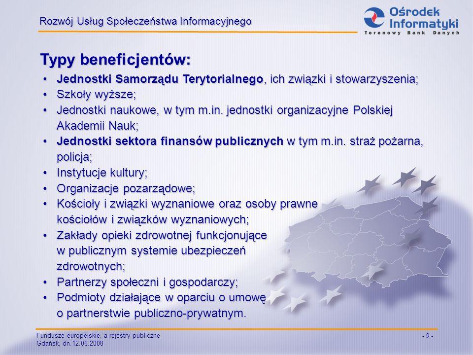 Fundusze europejskie, a rejestry publiczne Gdańsk, dn.12.06.2008 - 9 - Typy beneficjentów: Rozwój Usług Społeczeństwa Informacyjnego Jednostki Samorzą