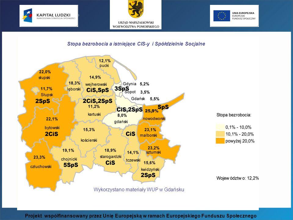 Wykorzystano materiały WUP w Gdańsku Stopa bezrobocia a istniejące CIS-y i Spółdzielnie Socjalne Projekt współfinansowany przez Unię Europejską w rama