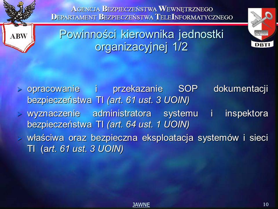 A GENCJA B EZPIECZEŃSTWA W EWNĘTRZNEGO D EPARTAMENT B EZPIECZEŃSTWA T ELE I NFORMATYCZNEGO 10 JAWNE Powinności kierownika jednostki organizacyjnej 1/2