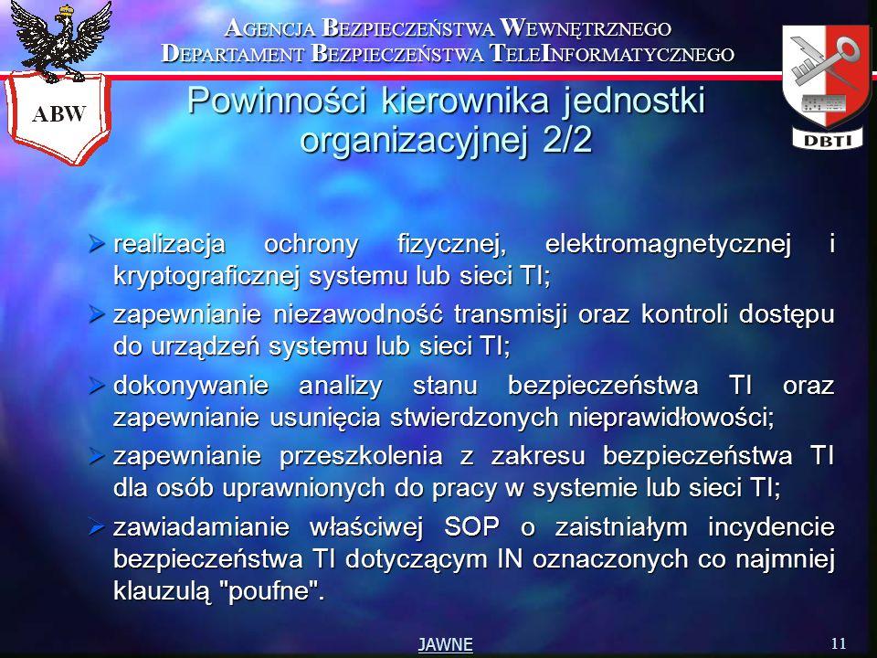 A GENCJA B EZPIECZEŃSTWA W EWNĘTRZNEGO D EPARTAMENT B EZPIECZEŃSTWA T ELE I NFORMATYCZNEGO 11 JAWNE Powinności kierownika jednostki organizacyjnej 2/2