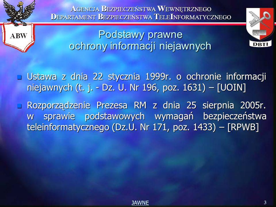 A GENCJA B EZPIECZEŃSTWA W EWNĘTRZNEGO D EPARTAMENT B EZPIECZEŃSTWA T ELE I NFORMATYCZNEGO 3 JAWNE Podstawy prawne ochrony informacji niejawnych n Ust