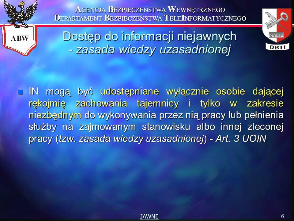 A GENCJA B EZPIECZEŃSTWA W EWNĘTRZNEGO D EPARTAMENT B EZPIECZEŃSTWA T ELE I NFORMATYCZNEGO 6 JAWNE Dostęp do informacji niejawnych - zasada wiedzy uza