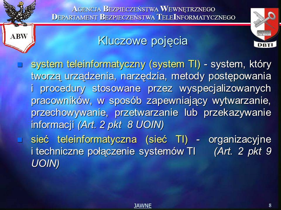 A GENCJA B EZPIECZEŃSTWA W EWNĘTRZNEGO D EPARTAMENT B EZPIECZEŃSTWA T ELE I NFORMATYCZNEGO 9 JAWNE Kluczowe pojęcia n Dokumentacja bezpieczeństwa systemu lub sieci TI – są Szczególne Wymagania Bezpieczeństwa oraz Procedury Bezpiecznej Eksploatacji danego systemu (…) (Art.