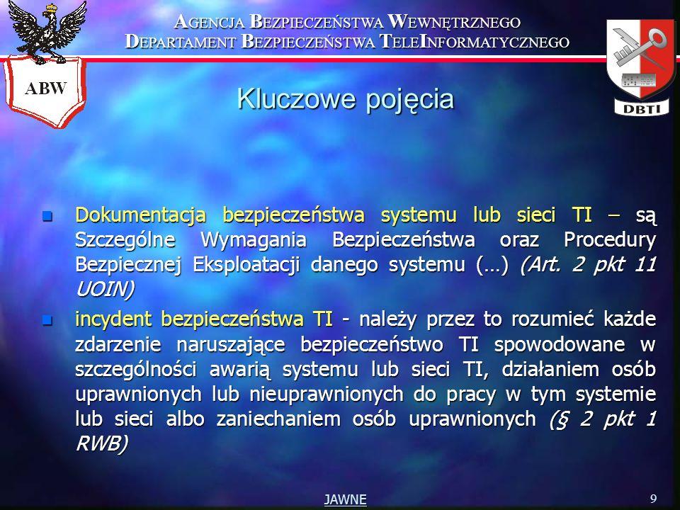 A GENCJA B EZPIECZEŃSTWA W EWNĘTRZNEGO D EPARTAMENT B EZPIECZEŃSTWA T ELE I NFORMATYCZNEGO 9 JAWNE Kluczowe pojęcia n Dokumentacja bezpieczeństwa syst