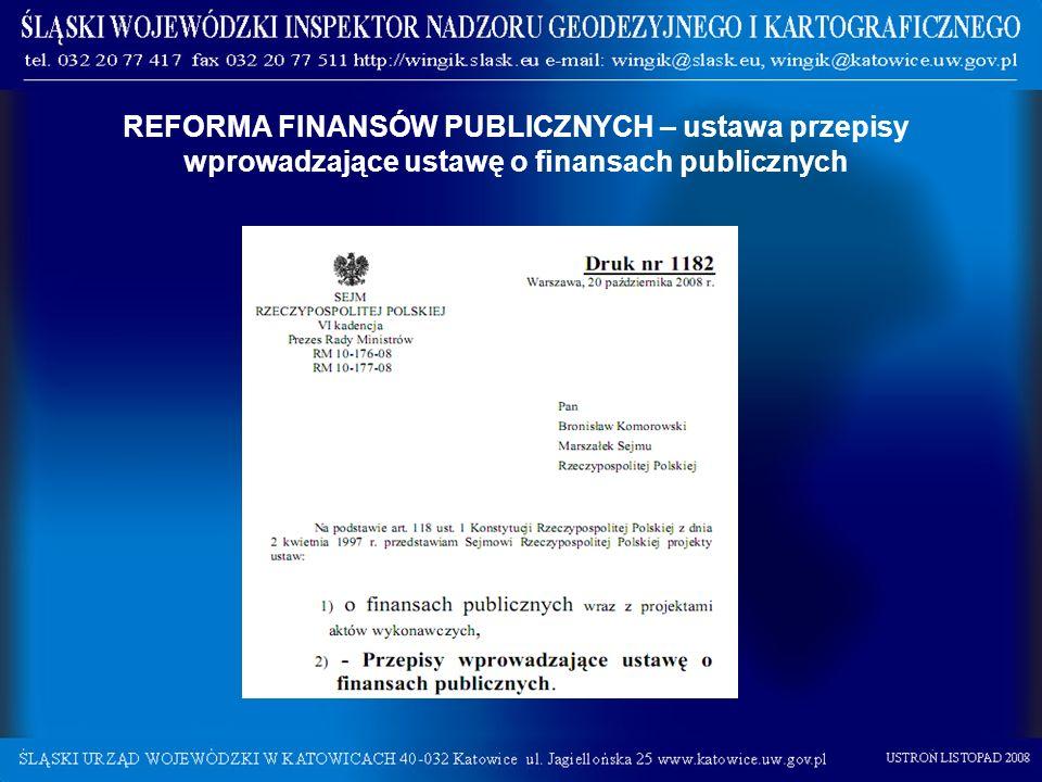 REFORMA FINANSÓW PUBLICZNYCH – ustawa przepisy wprowadzające ustawę o finansach publicznych
