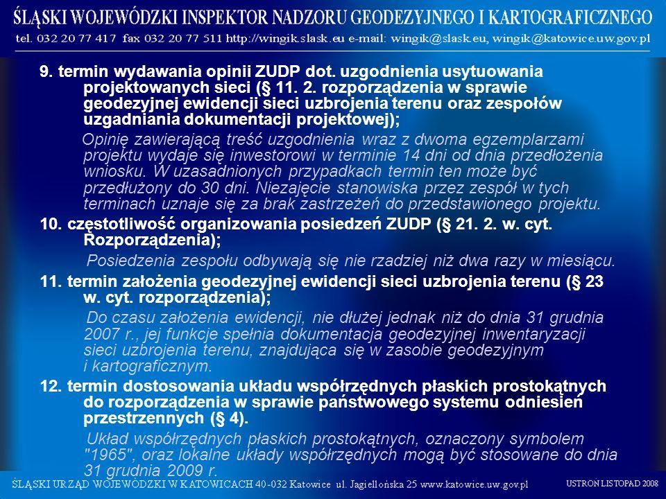 9. termin wydawania opinii ZUDP dot. uzgodnienia usytuowania projektowanych sieci (§ 11. 2. rozporządzenia w sprawie geodezyjnej ewidencji sieci uzbro