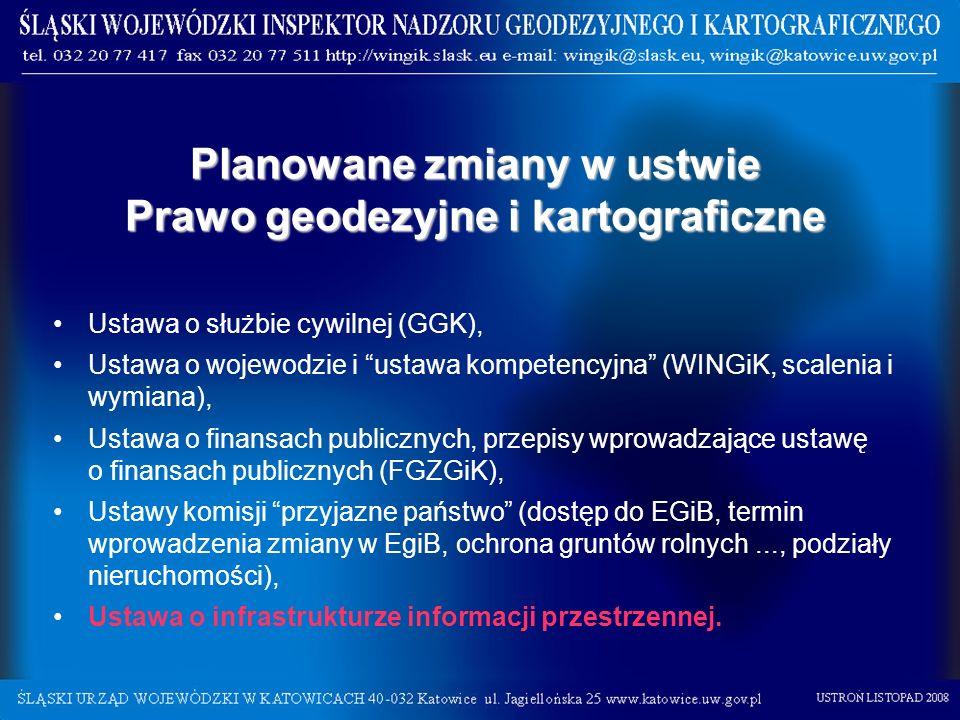 Planowane zmiany w ustwie Prawo geodezyjne i kartograficzne Ustawa o służbie cywilnej (GGK), Ustawa o wojewodzie i ustawa kompetencyjna (WINGiK, scale