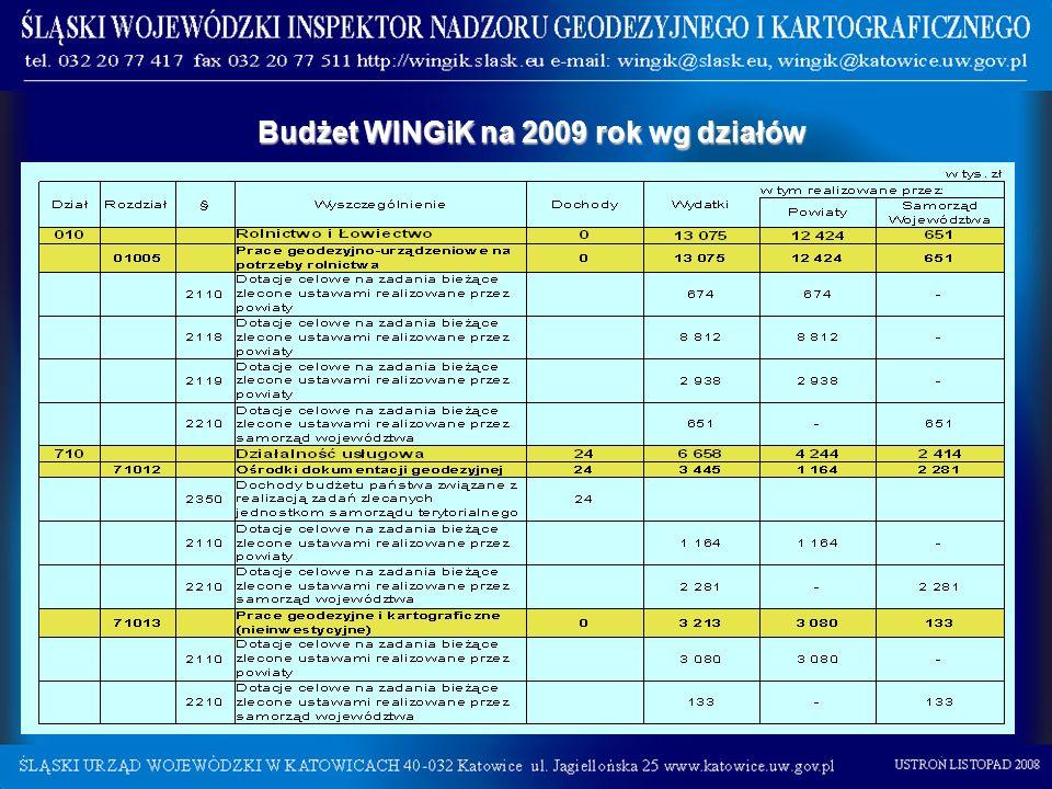 Budżet WINGiK na 2009 rok wg działów Budżet WINGiK na 2009 rok wg działów