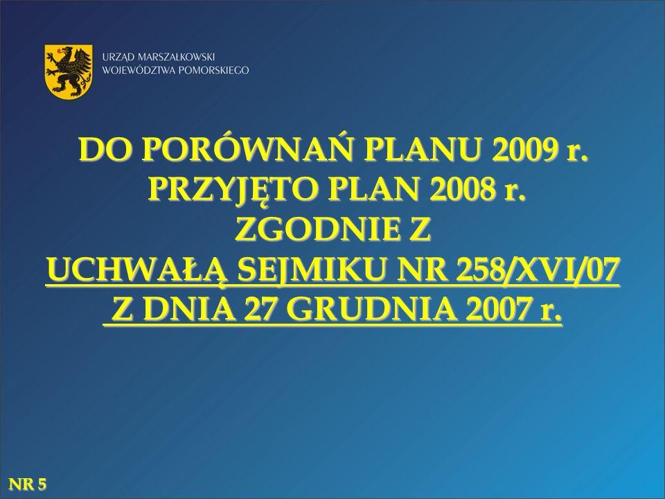 DO PORÓWNAŃ PLANU 2009 r. PRZYJĘTO PLAN 2008 r. ZGODNIE Z UCHWAŁĄ SEJMIKU NR 258/XVI/07 Z DNIA 27 GRUDNIA 2007 r. NR 5