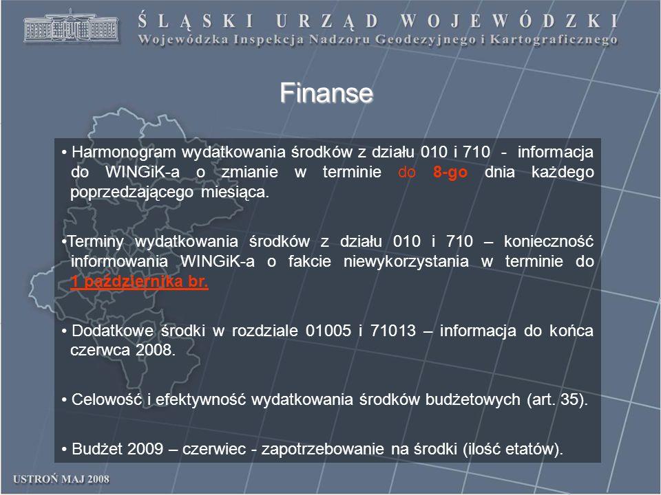 Finanse Harmonogram wydatkowania środków z działu 010 i 710 - informacja do WINGiK-a o zmianie w terminie do 8-go dnia każdego poprzedzającego miesiąc