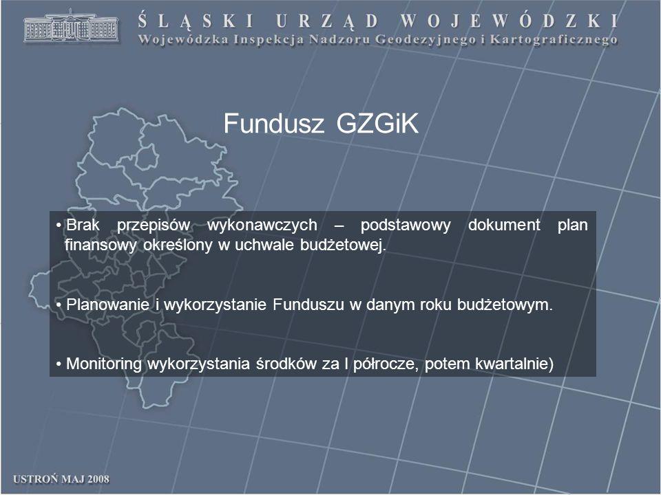 Fundusz GZGiK Brak przepisów wykonawczych – podstawowy dokument plan finansowy określony w uchwale budżetowej. Planowanie i wykorzystanie Funduszu w d