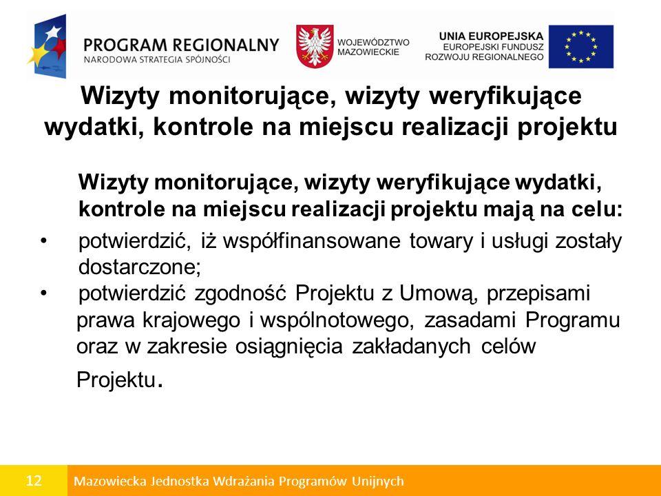 12 Mazowiecka Jednostka Wdrażania Programów Unijnych Wizyty monitorujące, wizyty weryfikujące wydatki, kontrole na miejscu realizacji projektu Wizyty
