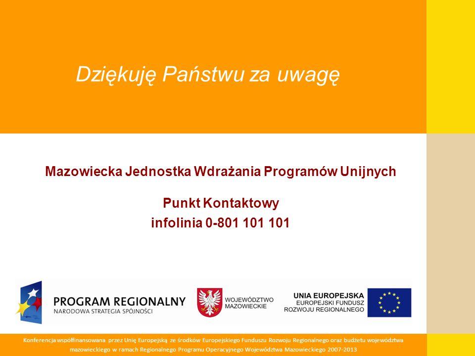 Konferencja współfinansowana przez Unię Europejską ze środków Europejskiego Funduszu Rozwoju Regionalnego oraz budżetu województwa mazowieckiego w ram