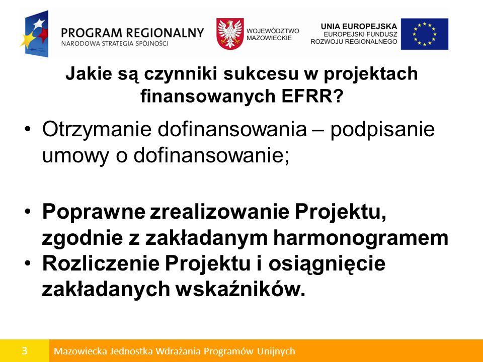 3 Mazowiecka Jednostka Wdrażania Programów Unijnych Jakie są czynniki sukcesu w projektach finansowanych EFRR? Otrzymanie dofinansowania – podpisanie