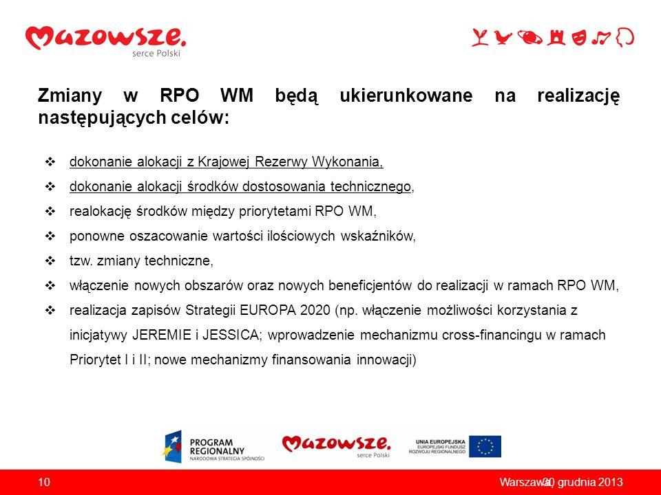 Zmiany w RPO WM będą ukierunkowane na realizację następujących celów: dokonanie alokacji z Krajowej Rezerwy Wykonania, dokonanie alokacji środków dost
