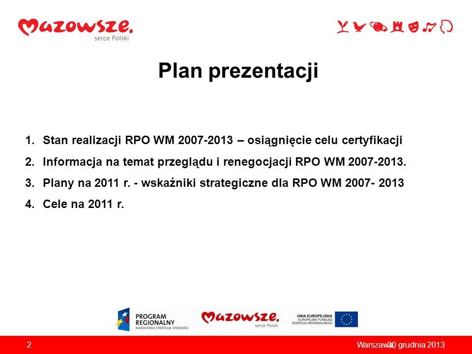 Plan prezentacji 1.Stan realizacji RPO WM 2007-2013 – osiągnięcie celu certyfikacji 2.Informacja na temat przeglądu i renegocjacji RPO WM 2007-2013. 3