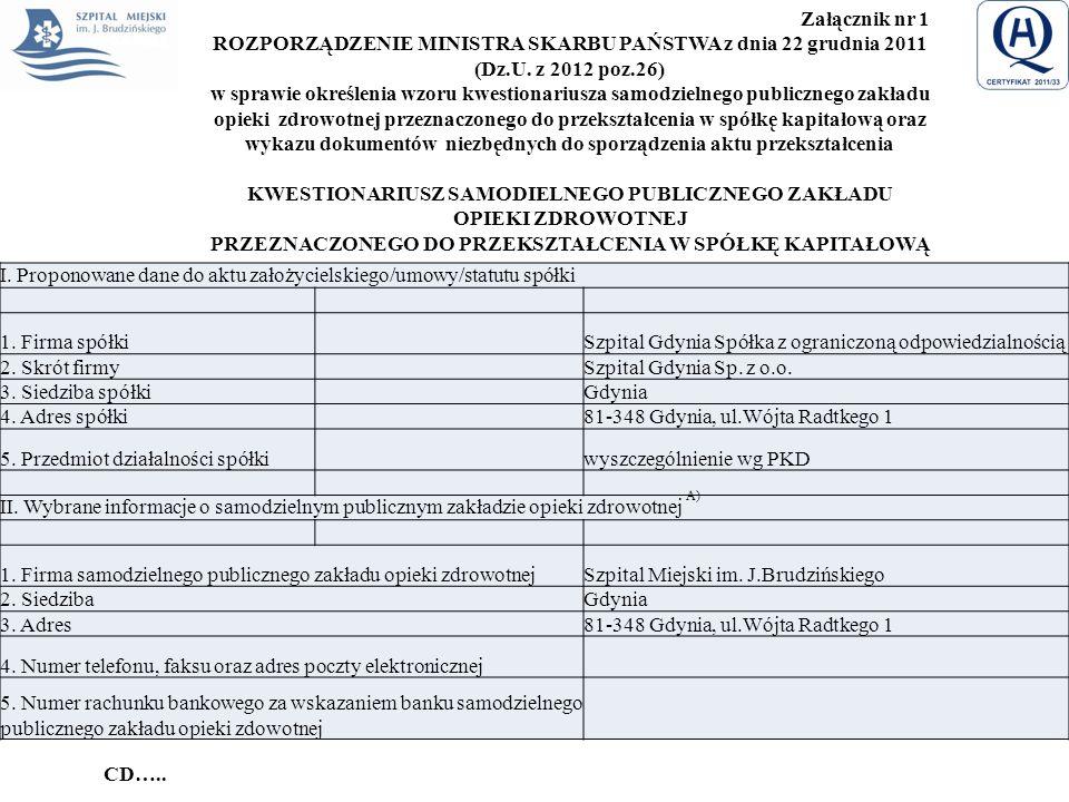 Załącznik nr 1 ROZPORZĄDZENIE MINISTRA SKARBU PAŃSTWA z dnia 22 grudnia 2011 (Dz.U. z 2012 poz.26) w sprawie określenia wzoru kwestionariusza samodzie