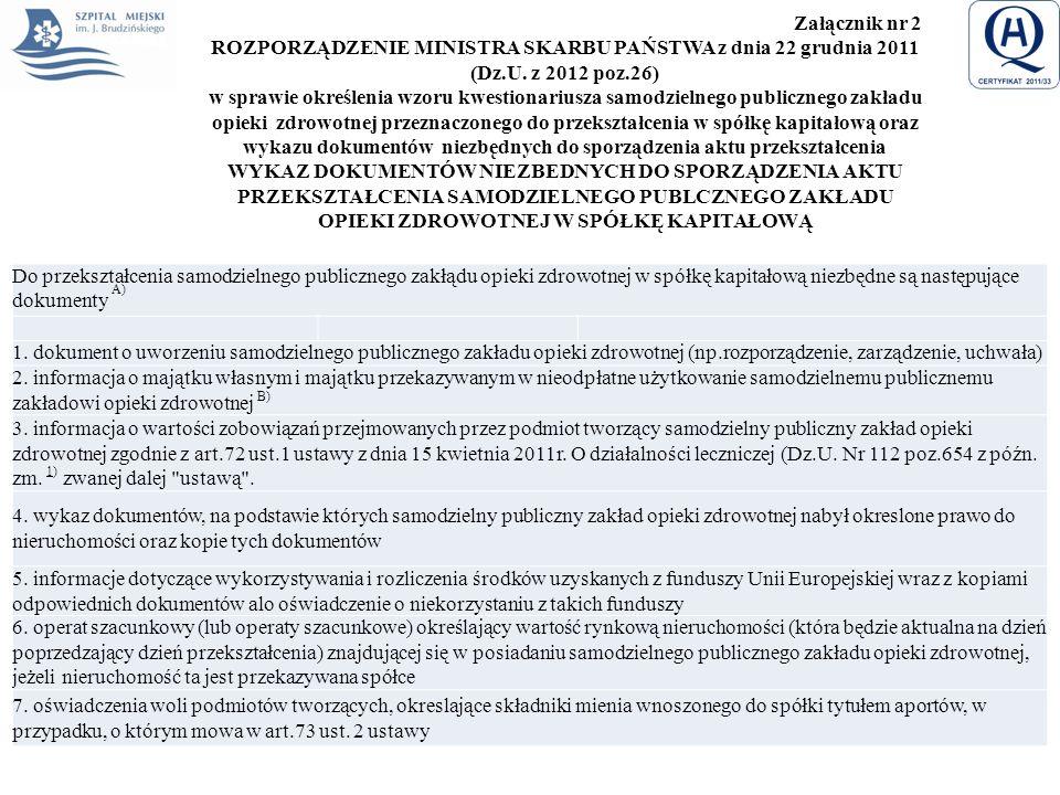 Załącznik nr 2 ROZPORZĄDZENIE MINISTRA SKARBU PAŃSTWA z dnia 22 grudnia 2011 (Dz.U. z 2012 poz.26) w sprawie określenia wzoru kwestionariusza samodzie
