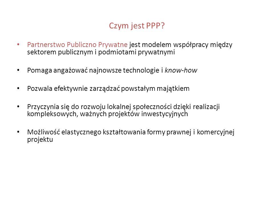 Czym jest PPP? Partnerstwo Publiczno Prywatne jest modelem współpracy między sektorem publicznym i podmiotami prywatnymi Pomaga angażować najnowsze te