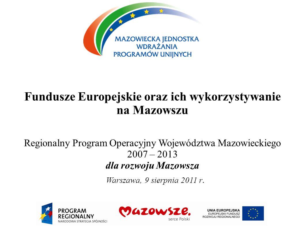 Fundusze Europejskie oraz ich wykorzystywanie na Mazowszu Regionalny Program Operacyjny Województwa Mazowieckiego 2007 – 2013 dla rozwoju Mazowsza War