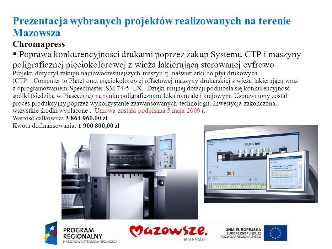 Prezentacja wybranych projektów realizowanych na terenie Mazowsza Chromapress Poprawa konkurencyjności drukarni poprzez zakup Systemu CTP i maszyny po