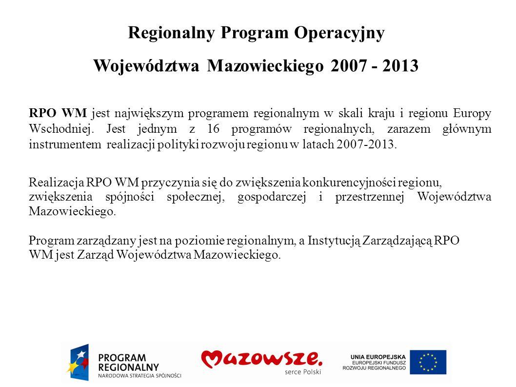 Regionalny Program Operacyjny Województwa Mazowieckiego 2007 - 2013 RPO WM jest największym programem regionalnym w skali kraju i regionu Europy Wscho